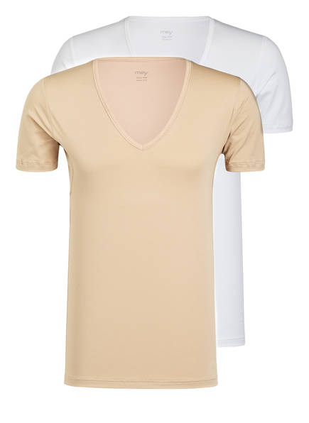 mey 2er-Pack V-Shirts Serie DRY COTTON FUNCTIONAL, Farbe: WEISS/ SKIN (Bild 1)