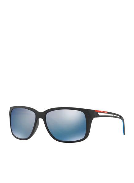 PRADA LINEA ROSSA Sonnenbrille PS 03TS, Farbe: 1BO2E0 - SCHWARZ/ BLAU VERSPIEGELT (Bild 1)