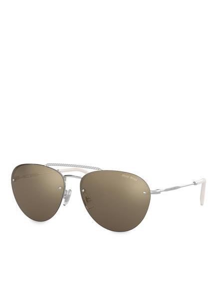 MIU MIU Sonnenbrille MU 54US, Farbe: 1BC1C0 - SILBER/ BRAUN VERSPIEGELT (Bild 1)