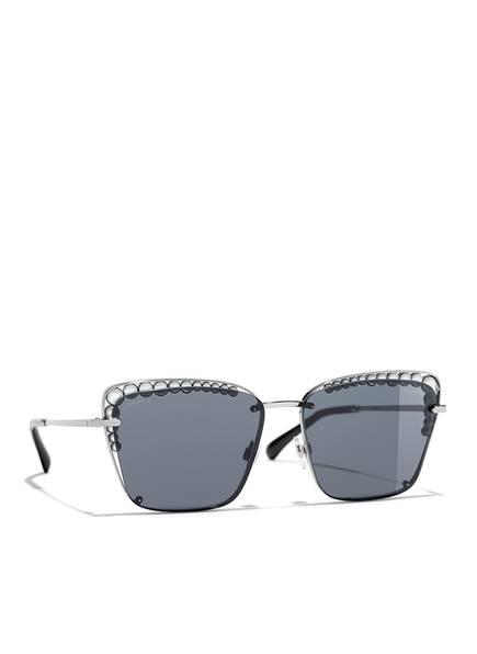 CHANEL Sunglasses Rechteckige Sonnenbrille, Farbe: SILBER & GRAU  (Bild 1)