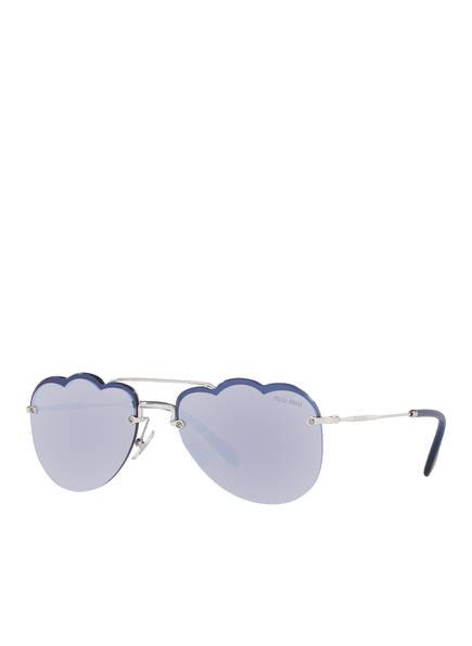 MIU MIU Sonnenbrille MU 56US, Farbe: 1BC178  - SILBER/ BLAU (Bild 1)