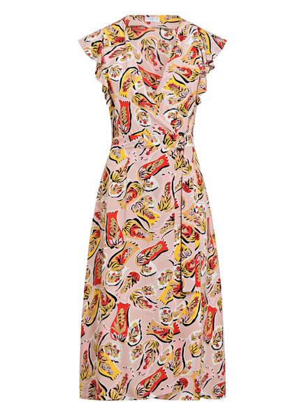 CLAUDIE PIERLOT Wickelkleid RAVENEH mit Rüschenbesatz , Farbe: ROSA/ ROT/ GELB (Bild 1)