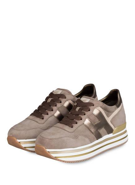 HOGAN Plateau-Sneaker H483, Farbe: HELLRAUN/ GOLD/ WEISS (Bild 1)