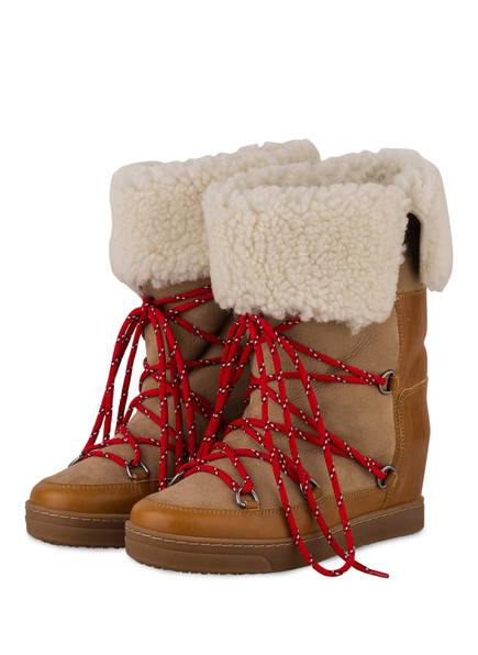 ISABEL MARANT Fell-Boots NOWLY, Farbe: BEIGE/ COGNAC (Bild 1)
