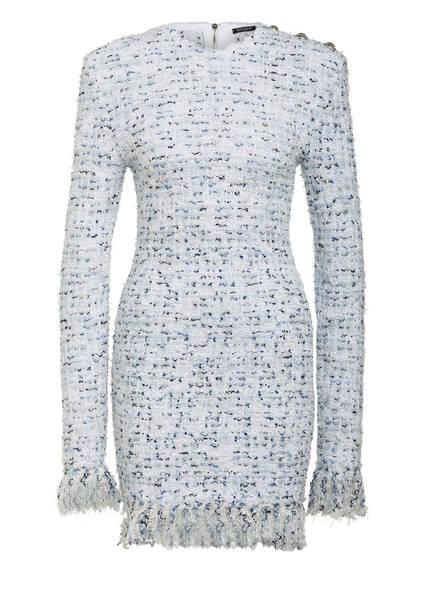 BALMAIN Bouclé-Kleid, Farbe: WEISS/ HELLBLAU/ DUNKELBLAU (Bild 1)