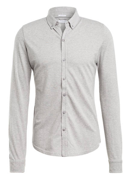 DSTREZZED Piqué-Hemd Extra Slim Fit, Farbe: GRAU (Bild 1)