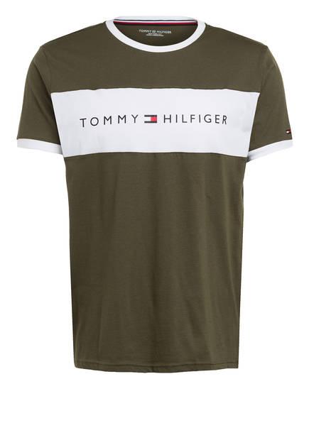 TOMMY HILFIGER Lounge-Shirt, Farbe: OLIV/ WEISS (Bild 1)