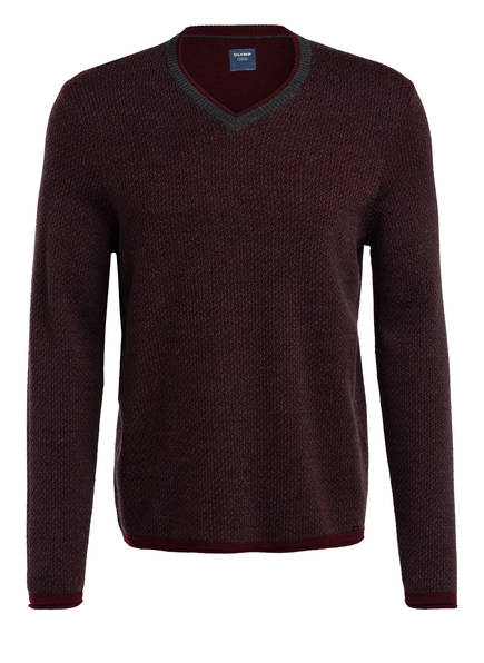 OLYMP Pullover, Farbe: DUNKELROT/ GRAU (Bild 1)