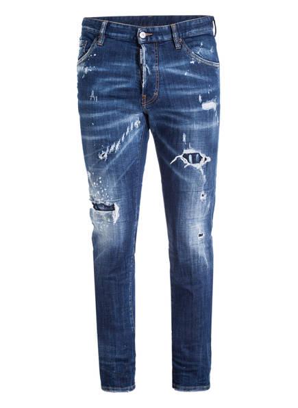 DSQUARED2 DSQUARED Denim Slim Jean Destroyed Jeans Hose Metal Logo Blau 07328