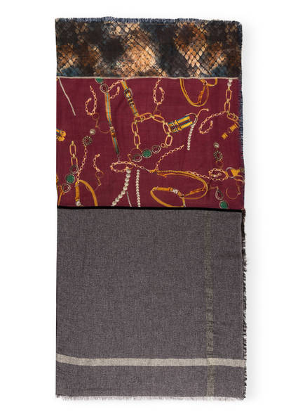 lilienfels Tuch , Farbe: BEIGE/ DUNKELROT/ GRAU (Bild 1)