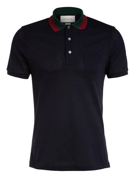GUCCI Piqué-Poloshirt, Farbe: DUNKELBLAU (Bild 1)