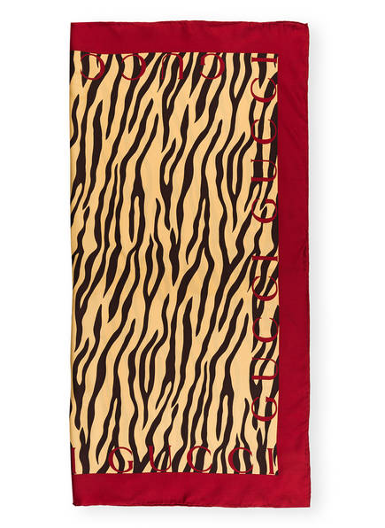 GUCCI Seidentuch , Farbe: GOLD/ SCHWARZ/ DUNKELROT (Bild 1)