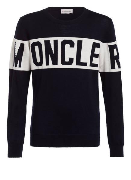 MONCLER Schurwoll-Pullover, Farbe: DUNKELBLAU/ WEISS (Bild 1)