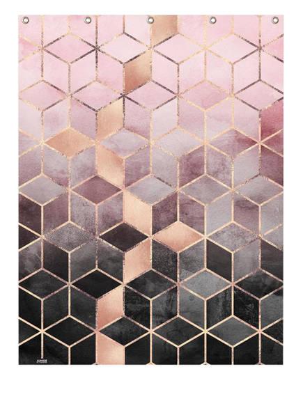 JUNIQE Duschvorhang, Farbe: LILA/ ROSÈ/ SCHWARZ (Bild 1)