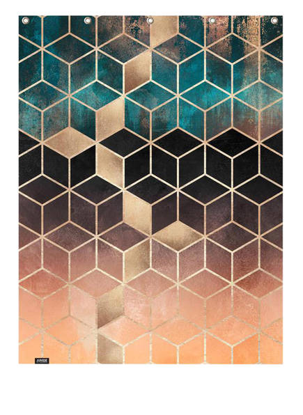 JUNIQE Duschvorhang, Farbe: ORANGE/ COGNAC/ TÜRKIS (Bild 1)