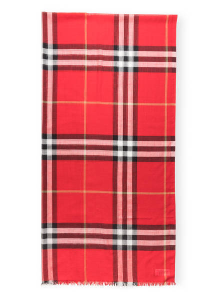 BURBERRY Schal mit Seide, Farbe: GIANT CHECK/ BRIGHT MILITARY RED (Bild 1)