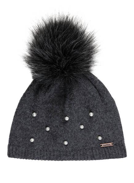 norton Mütze mit Perlenbesatz und Kunstpelzbommel, Farbe: DUNKELGRAU (Bild 1)
