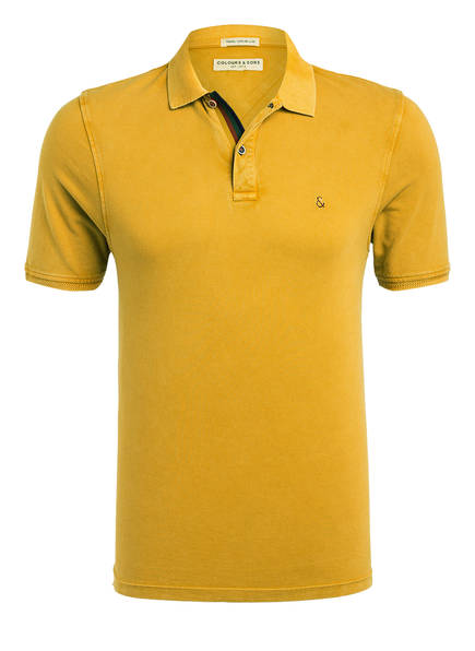 COLOURS & SONS Piqué-Poloshirt KARLO, Farbe: DUNKELGELB (Bild 1)