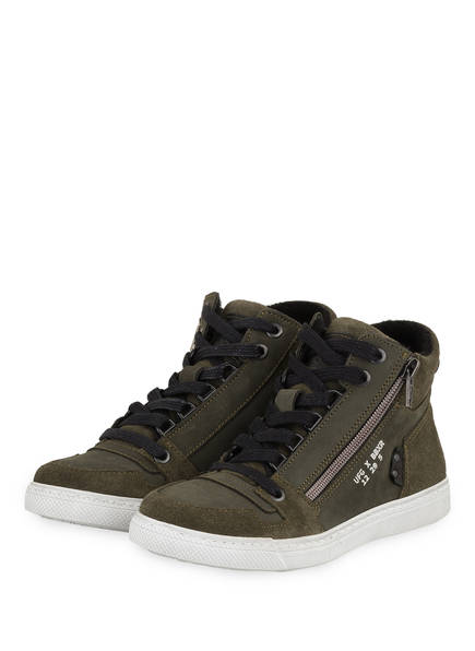 BULLBOXER Hightop-Sneaker mit Kunstfellbesatz, Farbe: KHAKI (Bild 1)