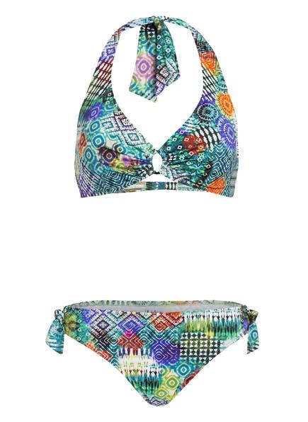 Lidea Neckholder-Bikini BATIK GREENERY, Farbe: GRÜN/ BLAU/ GELB (Bild 1)