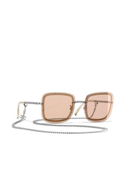 CHANEL Sunglasses Rechteckige Sonnenbrille , Farbe: C12473 - SILBER/ HELLBRAUN (Bild 1)