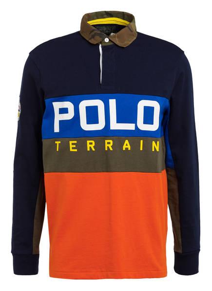 POLO RALPH LAUREN Jersey-Poloshirt, Farbe: DUNKELBLAU/ BLAU/ ORANGE (Bild 1)