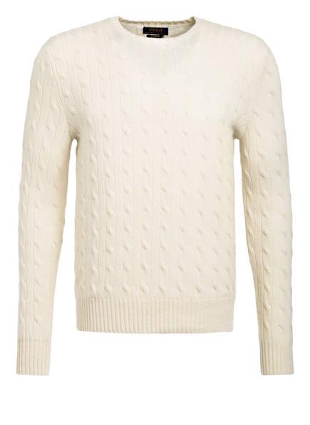 POLO RALPH LAUREN Cashmere-Pullover mit Zopfmuster, Farbe: WEISS (Bild 1)