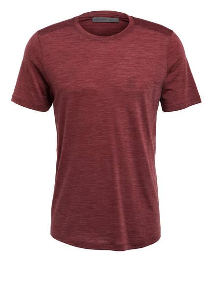 icebreaker T-Shirt SPHERE mit Merinowolle-Anteil , Farbe: DUNKELROT MELIERT (Bild 1)