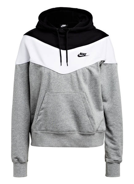 Nike Hoodie HERITAGE, Farbe: SCHWARZ/ WEISS/ GRAU MELIERT (Bild 1)