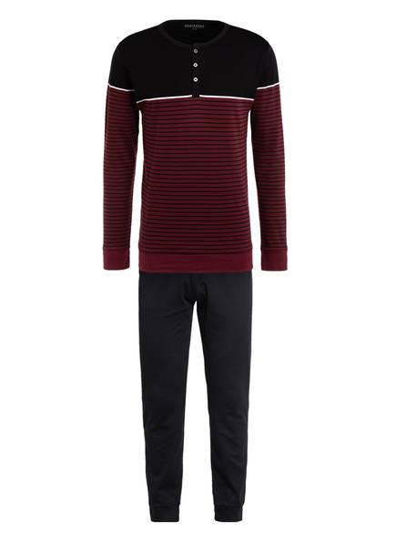 SCHIESSER Schlafanzug , Farbe: SCHWARZ/ DUNKELROT GESTREIFT (Bild 1)