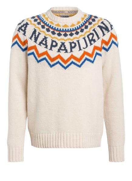 NAPAPIJRI Norweger Pullover DUNE, Farbe: ECRU/ ORANGE/ BLAU (Bild 1)