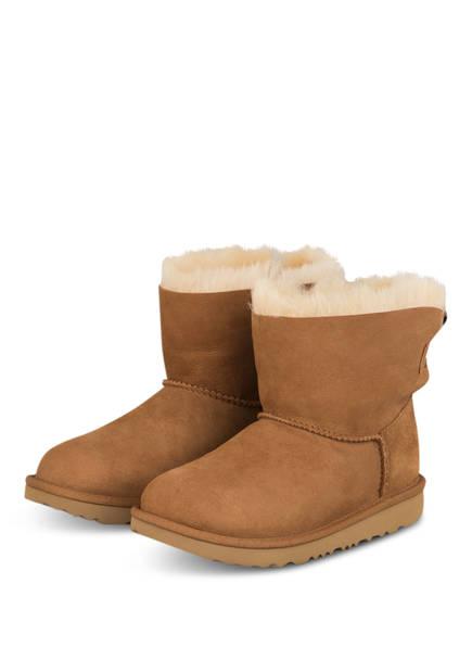 UGG Boots MINI BAILEY BOW mit Echtfellfutter, Farbe: COGNAC (Bild 1)