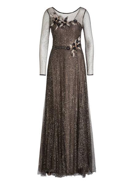 MARCHESA NOTTE Kleid mit Glitzer und Tüllblütenbesatz, Farbe: SCHWARZ/ GOLD (Bild 1)