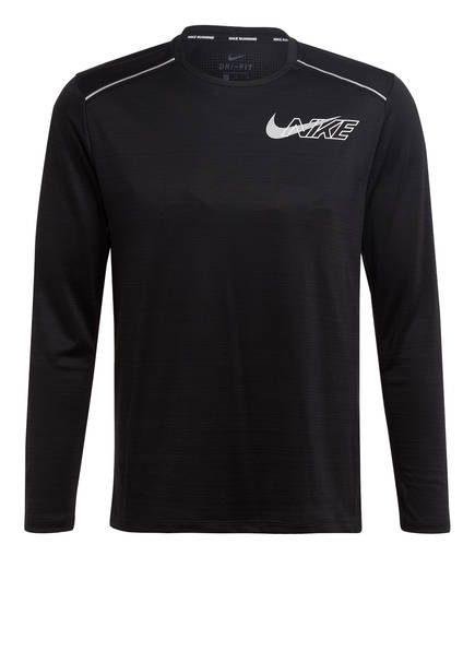 Nike Laufshirt MILER LS FLASH, Farbe: SCHWARZ (Bild 1)