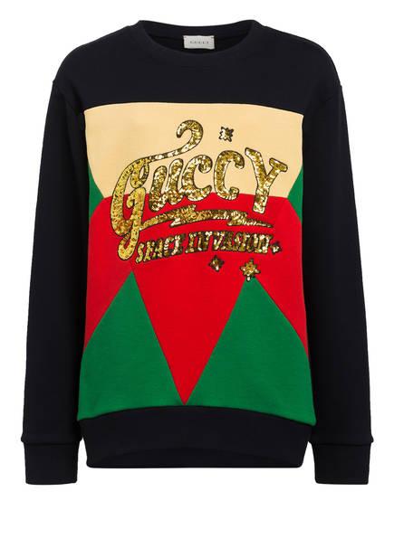 GUCCI Sweatshirt mit Paillettenbesatz, Farbe: DUNKELBLAU/ GRÜN/ ROT (Bild 1)