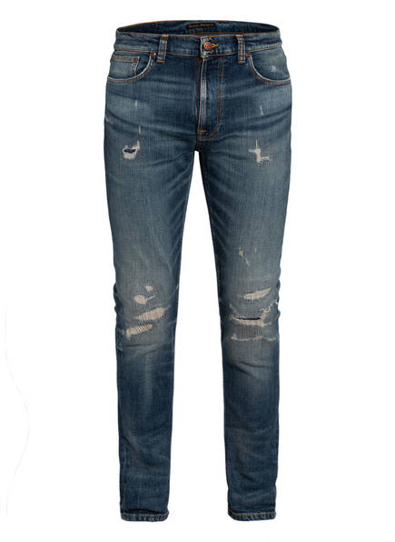 Nudie Jeans Destroyed-Jeans LEAN DEAN Slim Fit, Farbe: BEATEN INDIGO BLUE (Bild 1)