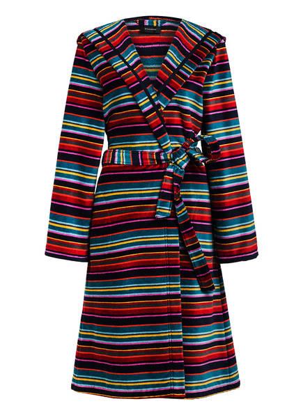 Cawö Damen-Bademantel mit Kapuze, Farbe: DUNKELBLAU/ ROT/ PETROL (Bild 1)