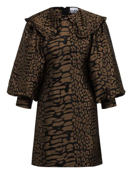 GANNI Jacquard-Kleid, Farbe: SCHWARZ/ HELLBRAUN (Bild 1)