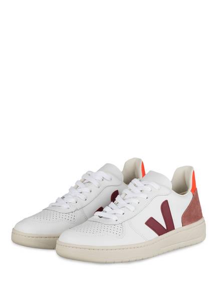 VEJA Sneaker V-10, Farbe: WEISS/ DUNKELROT/ HELLROT (Bild 1)