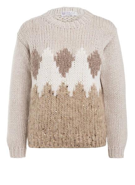 BRUNELLO CUCINELLI Pullover, Farbe: BEIGE/ WEISS (Bild 1)