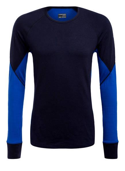 icebreaker Funktionswäsche-Shirt 260 ZONE aus Merinowolle, Farbe: NAVY/ BLAU (Bild 1)