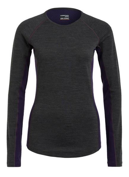 icebreaker Funktionswäsche-Shirt BODYFITZONE™ 200 ZONE aus Merinowolle, Farbe: GRAU MELIERT/ DUNKELLILA (Bild 1)