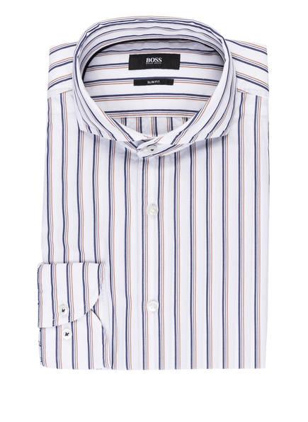 BOSS Hemd JEMERSON Slim Fit, Farbe: WEISS/ BLAU/ BRAUN GESTREIFT (Bild 1)