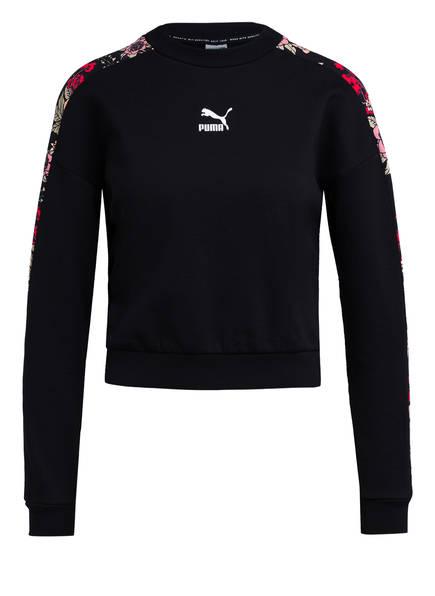 PUMA Cropped-Sweatshirt, Farbe: SCHWARZ/ ROSE (Bild 1)