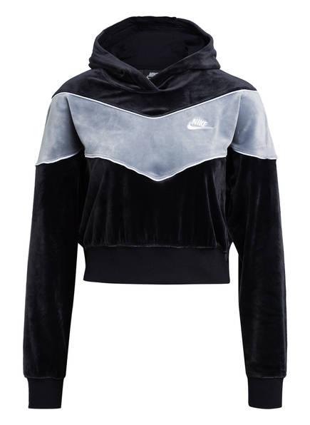 Nike Samt-Hoodie HERITAGE, Farbe: SCHWARZ/ GRAU (Bild 1)