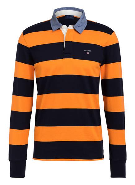 GANT Poloshirt HEAVY RUGGER Regular Fit, Farbe: ORANGE/ DUNKELBLAU GESTREIFT (Bild 1)