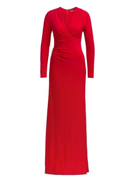 LAUREN RALPH LAUREN Abendkleid mit Schmucksteinspange, Farbe: ROT (Bild 1)