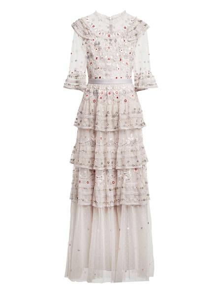 needle & thread Abendkleid EDEN mit 3/4-Arm und Spitzenbesatz, Farbe: HELLGRAU (Bild 1)