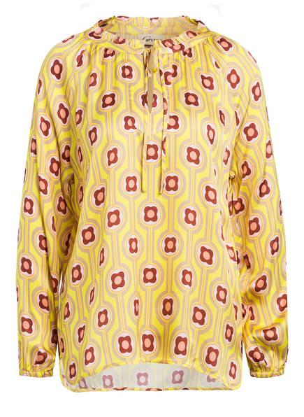 Grace Blusenshirt mit Rüschenkragen, Farbe: GELB/ DUNKELROT (Bild 1)