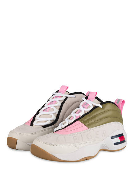 TOMMY JEANS Plateau-Sneaker HERITAGE, Farbe: OLIV/ ROSA/ CREME (Bild 1)